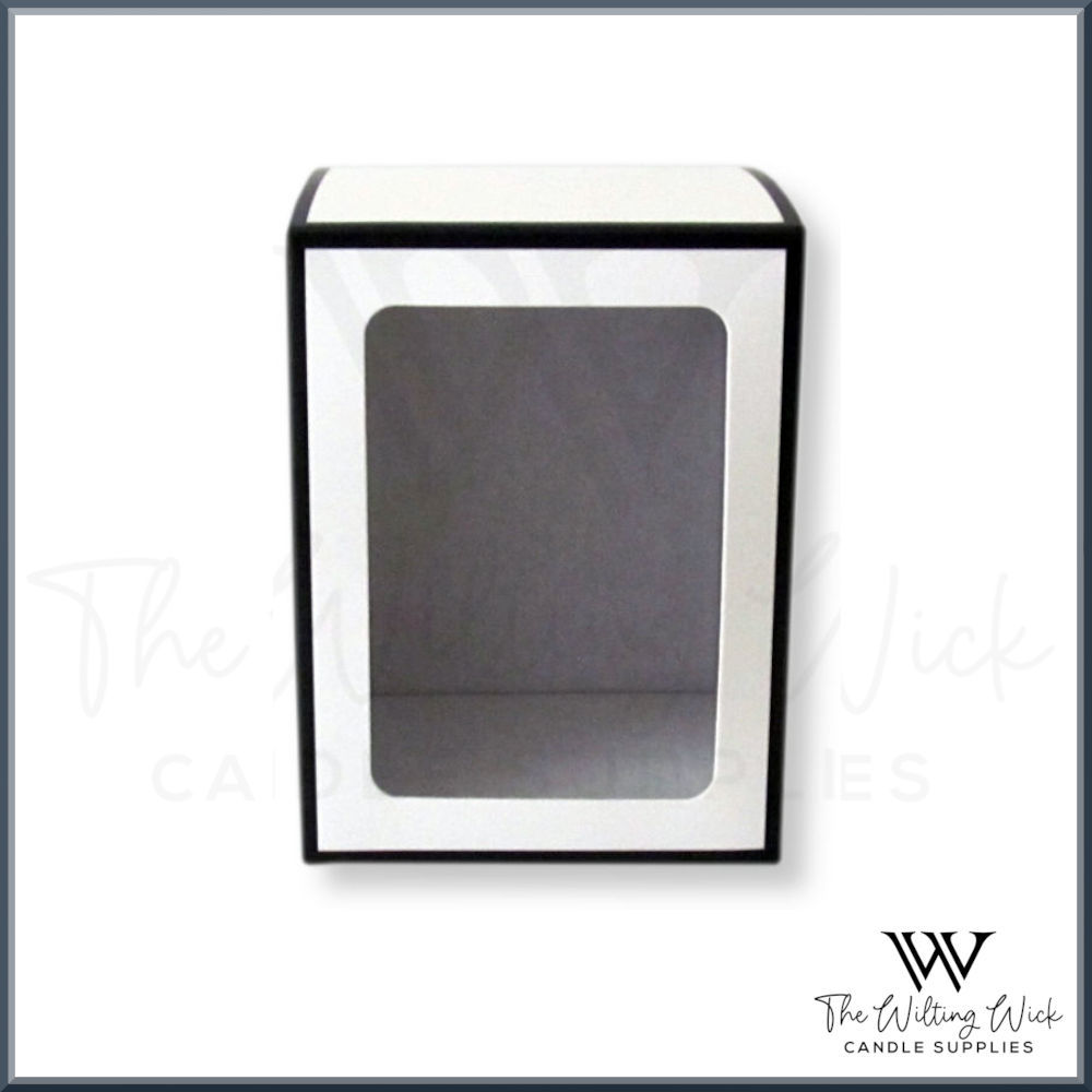 White Danube Box Black Trim Windowed Knob Lid
